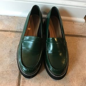 ASOS Patent Leather loafers, deep green.